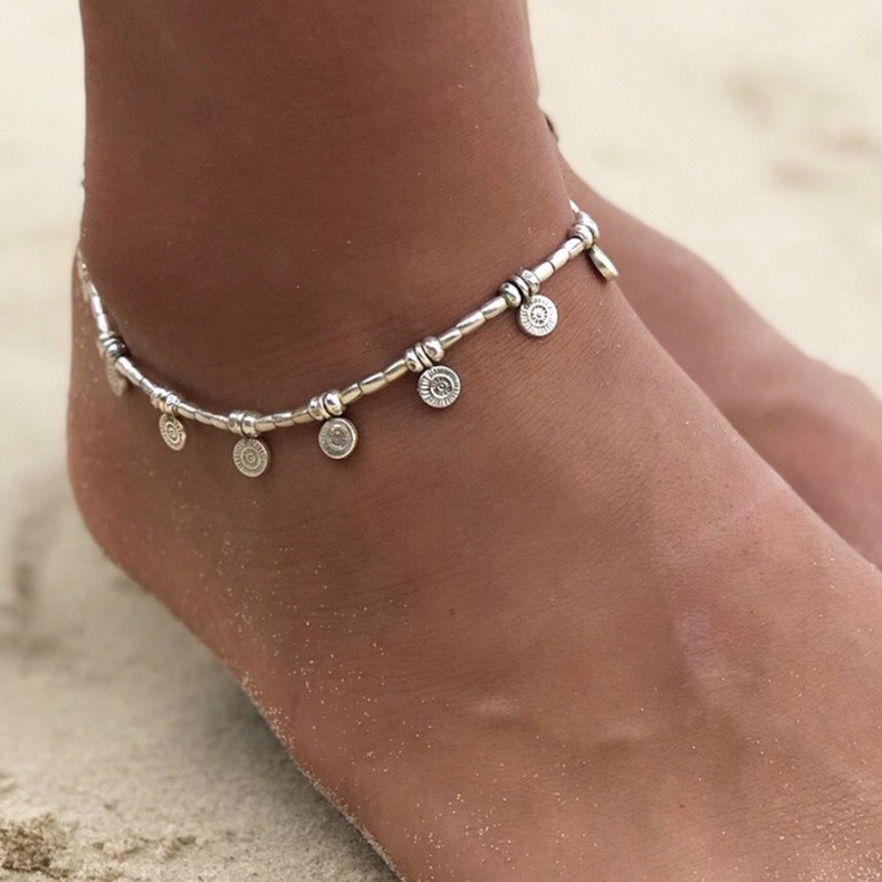 Modyle Hot Silver Color Anklets for Women Vintage Bracelet Bohemian Flower chaine cheville barefoot sandals halhal Foot Jewelry
