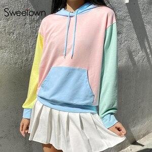 Sweetown Long Sleeve Oversize Cute Sweatshirts For Women Autumn Fashion Clothes Macaron Colorblock Pullovers Sweatshirt Winter