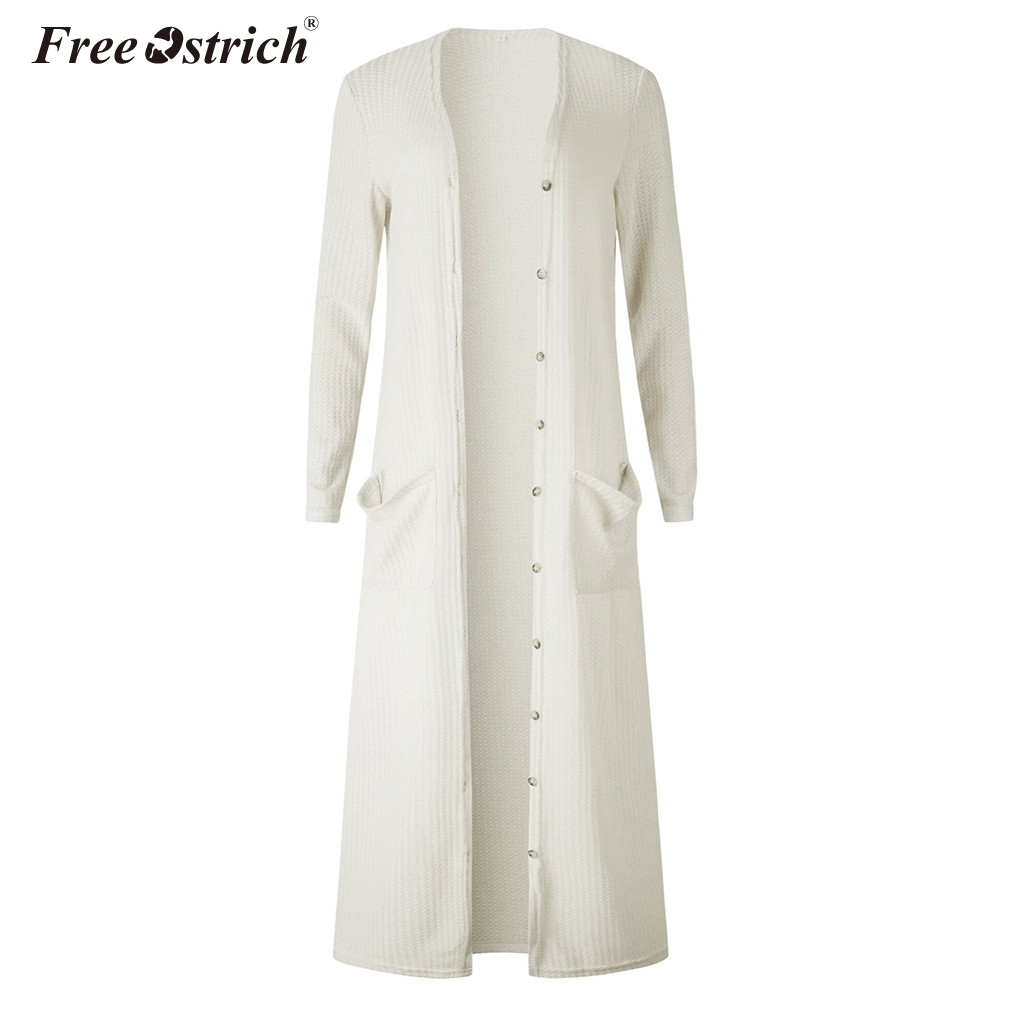 Free Ostrich Women Clothing Spring Autumn Winter Knitted Long Cardigans Sweaters Coat Women Full Sleeve Sweaters N30