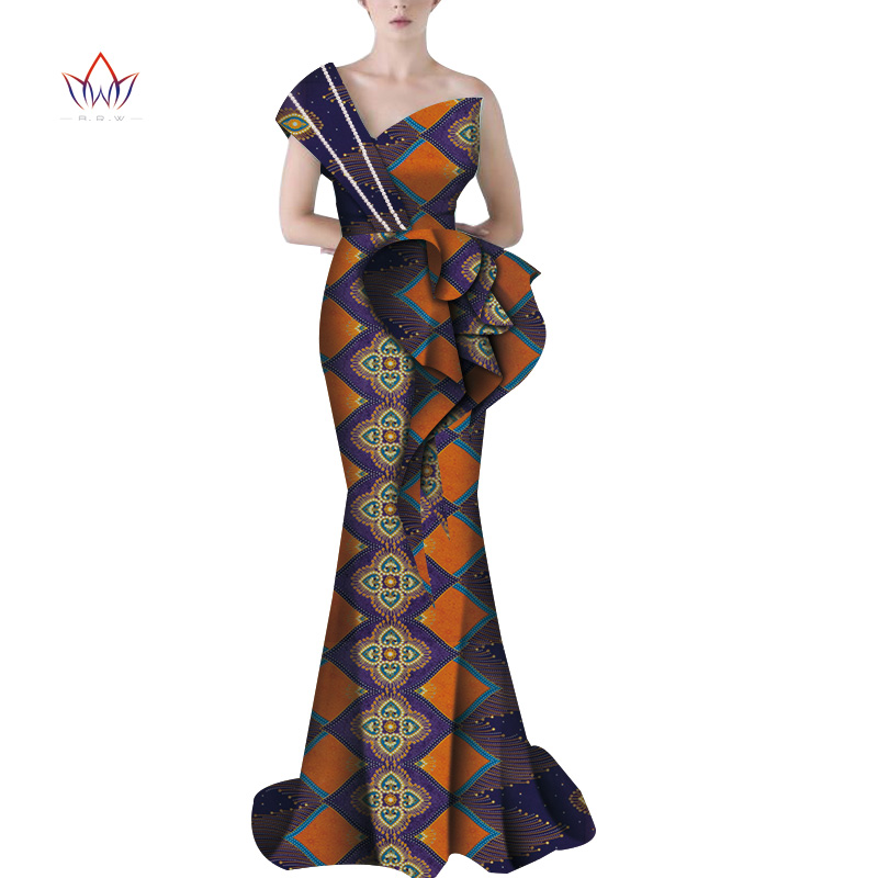 Bazin Riche African Sexy Evening One Shoulder Dresses Dashiki African Dresses For Women African Clothes Wedding Dresses WY5913