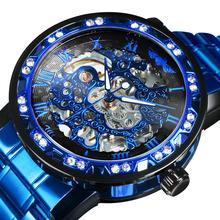 Zwycięzca oficjalny królewski szkielet mechaniczny zegarek mężczyźni kryształ Iced Out męskie zegarki Top marka luksusowy stalowy pasek biznes zegar