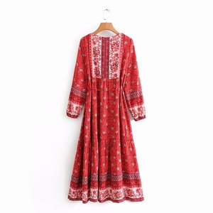 Image 2 - Vintage chic women elegant lace up  tassel floral print beach Bohemian  Maxi dress Ladies rayon Boho dress vestidos