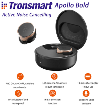 Tronsmart Apollo Bold TWS Earbuds ANC(360° Hybrid Active Noise Cancelling) Bluetooth Wireless Earphones Apt-X 30 hours Playtime