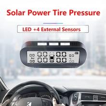 نظام مراقبة ضغط الإطارات TPMS, نظام ذكي مراقبة ضغط إطارات السيارة TPMS يعمل بالطاقة الشمسية شاشة LED لاسلكية مع 4 مستشعر مدمج أو خارجي