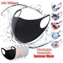 Masque Face-Mask Protective-Breathing Mascarillas Anti-Dust Washable Black 10/50pcs Summer