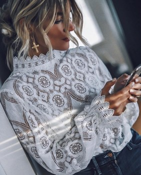 2019 Women's Spring and Summer New Top Hot Selling Sexy Perspective Long Sleeve Stand Collar Lace Shirt
