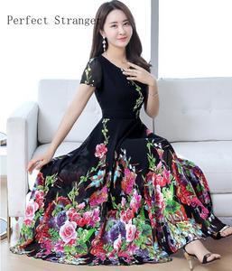 Plus rozmiar M-4XL wysokiej jakości 2020 lato nowy nabytek moda V kołnierz kolor kwiat plisowana kobiety szyfonowa długa sukienka