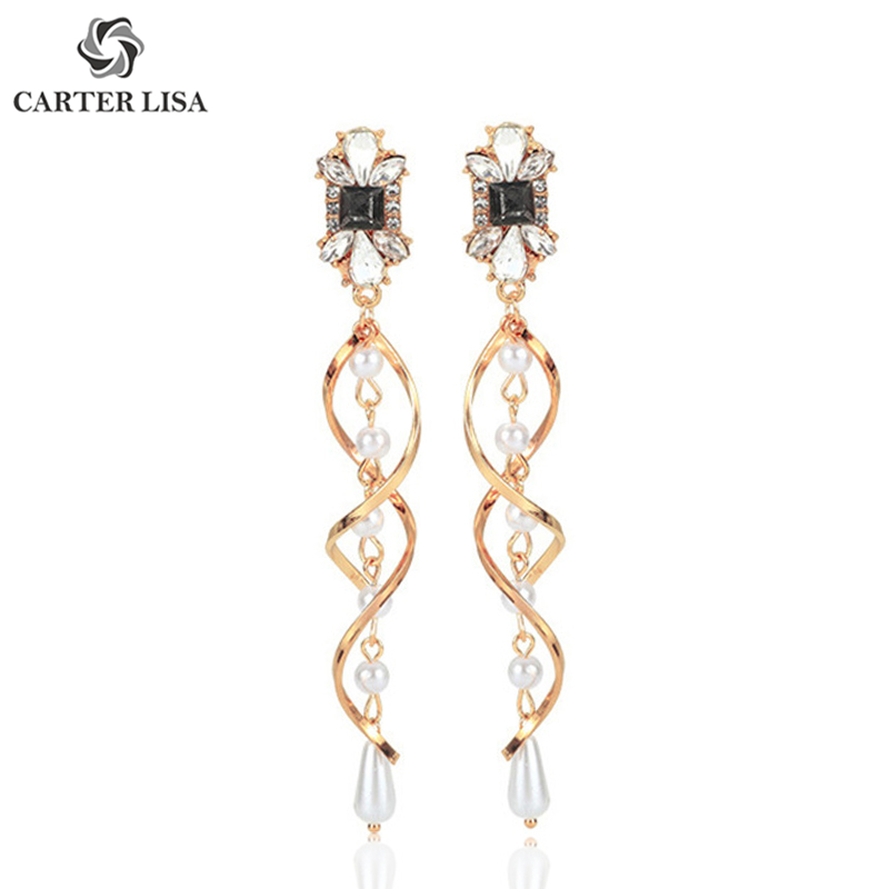 CARTER LISA Luxyry Pearl Crystal Gold Spiral Twist Long Drop Earrings For Women Girl Ethnic Fashion Jewelry Party Gifts 2019