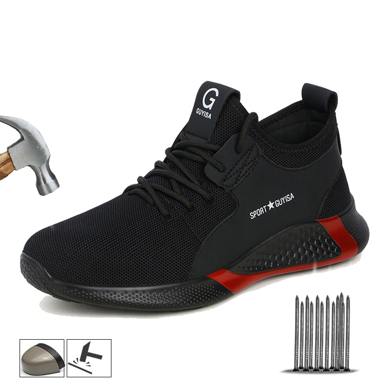 Yadibeiba Safety Shoes Boots For Men Breathable Work Shoes Steel Toe Indestructible Working Shoes Man Safety Work Footwear