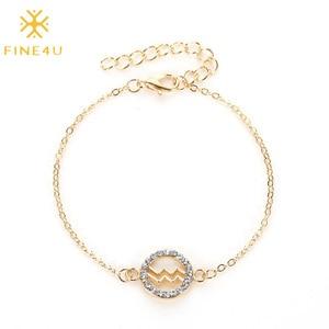 FINE4U B463 Constellations Zodiac Sign Bracelet for Women Girls Bracelet Astrology Horoscope CZ Jewelry for Mother Daughter