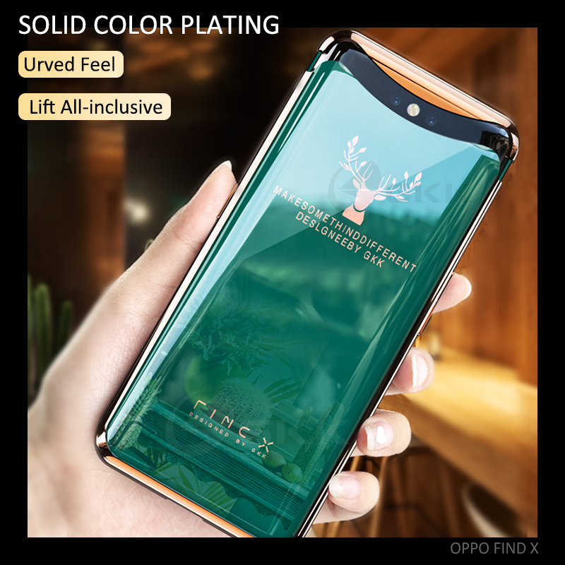GKK Magnetic Plating For OPPO Find X Case Curved Surface Elk Pattern All-inclusive Full Protection Cover For OPPO Find X Coque