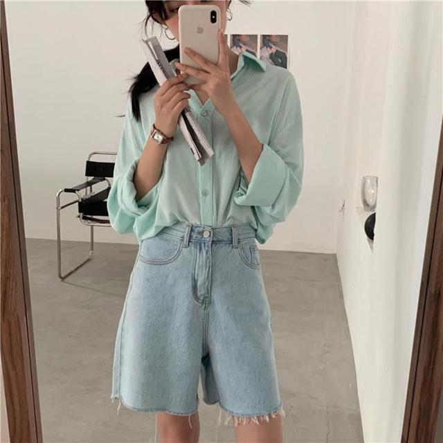 Genayooa Streetwear Biker Shorts Women Korean Style 2021 Summer Cotton Denim Shorts Jeans High Waist Cool Short Feminino Chic 4