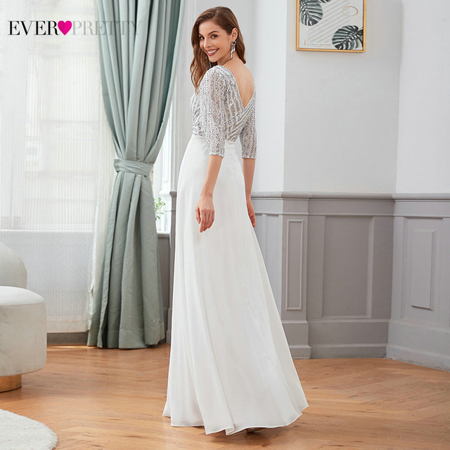 Sexy Evening Dresses Ever Pretty EP00751DG Sequined 3/4 Sleeve Double V-Neck A-Line Sparkle Ladies Party Gowns Robe De Soiree 2