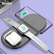 Беспроводное зарядное устройство Baseus Qi для Airpods Apple Watch 4 3 2 1 iWatch 3в1 быстрая Беспроводная зарядная подставка для iPhone 11 Pro Max samsung