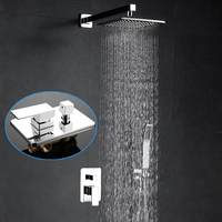 Modern Brass Shower Faucet Set 8 Inch Wall Mounted Rain Shower System Hot and Cold Mixer Bathroom Fixtures 2019 New