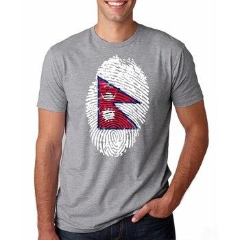 Camiseta blanca para hombre, camiseta informal de algodón con estampado de huellas dactilares de la bandera de Nepal, camiseta de manga corta, camiseta de marca para hombre 3XL