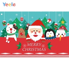 Yeele Christmas Party Cartoon Santa Claus Penguin Photography Backdrops Personalized Photographic Backgrounds For Photo Studio