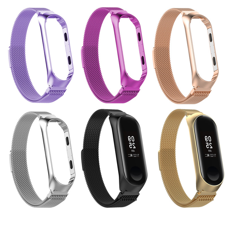 Wrist Band For Xiaomi Mi Band 3 4 Metal Milanese Loop Strap Bracelet For Xiaomi Miband 3 4 Charger USB Cable Clip Type Charging