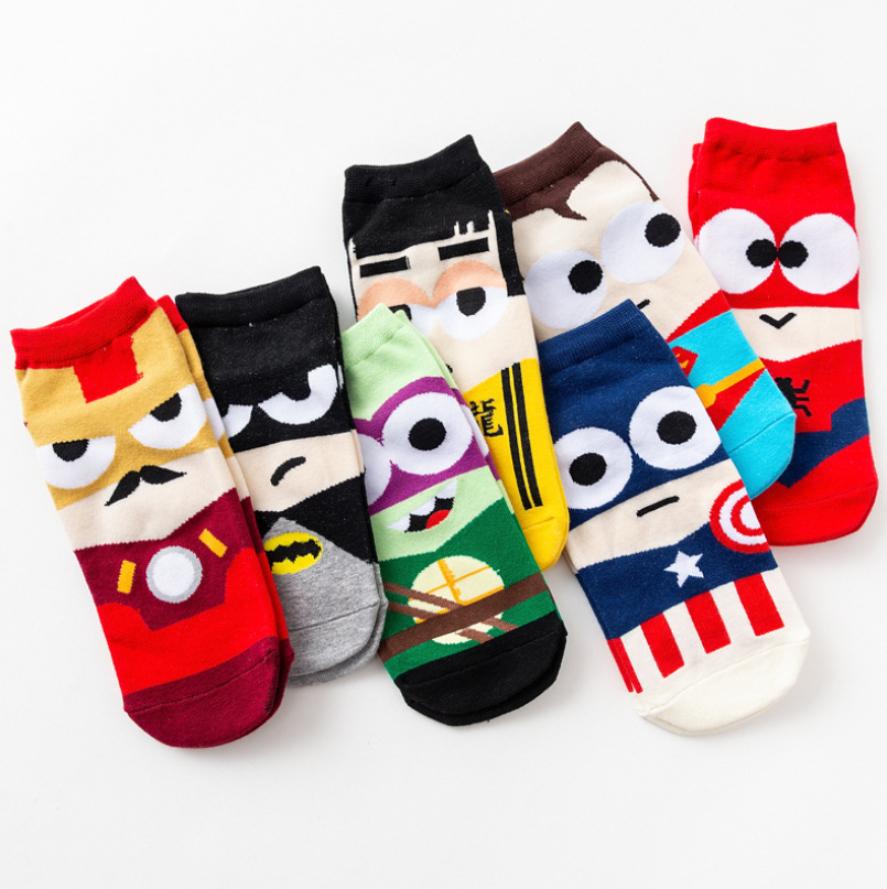Anime Socks Men Boy Cartoon Spider-Man Batman Superman Kawaii Harajuku Cotton Non-slip Home Couples Women Socks