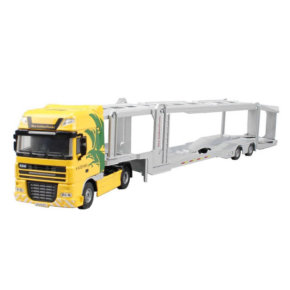 1:50 Alloy Diecast Double-Deck Mobil Transporter Flat-Bed Trailer Platform Truk Model Kendaraan Mainan Hobi untuk Anak-anak hadiah