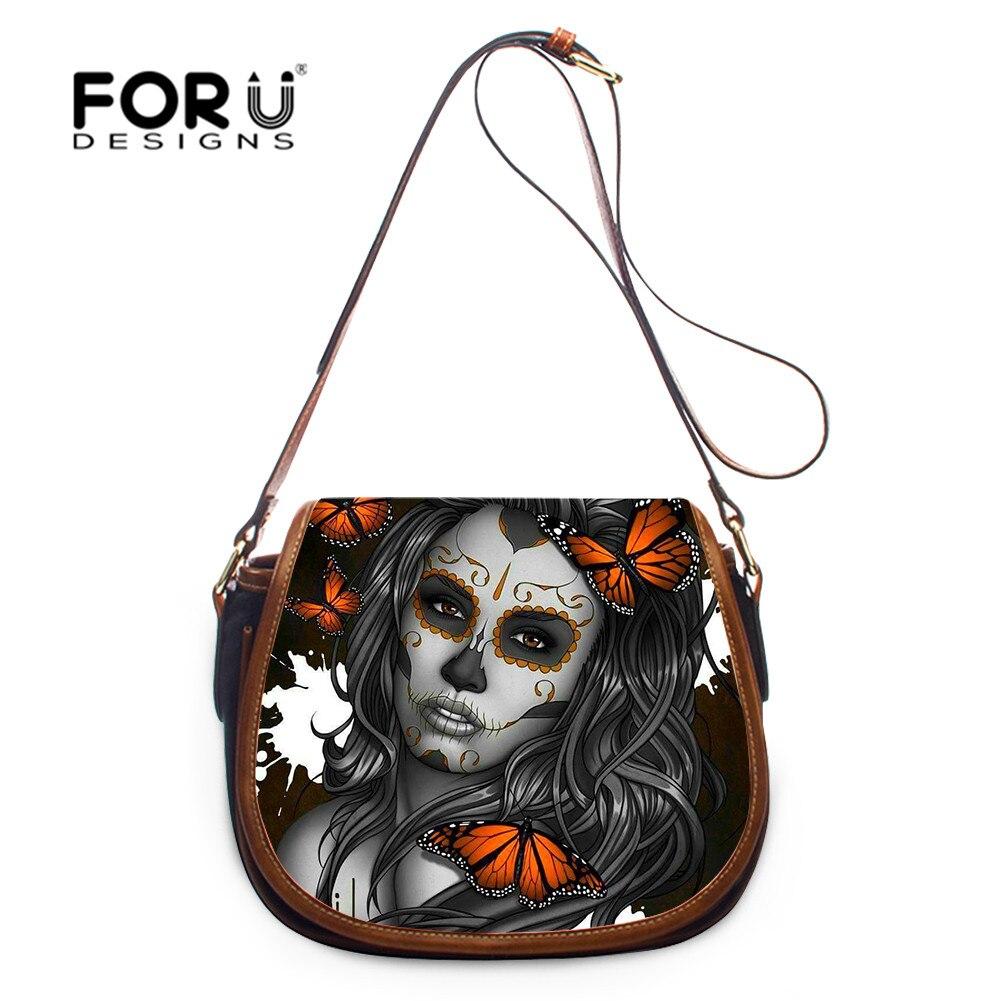 FORUDESIGNS Sugar Skull Girl Print Crossbody Bag Lady Mini Shoulder BagsGothic Female Handbag Messenger Bag  sac a main