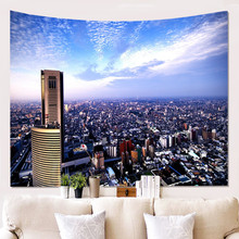 Night City Tapestry Wall Hanging Bedroom Backdrop Decor Hippie Tapestry Wall Carpets Bedspread Psychedelic Tapestry wall hanging art decor halloween night print tapestry