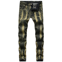men biker jeans hiphop street designer rock star destroyed ripped skinny distressed male high quality comfortable pants 10.21(China)