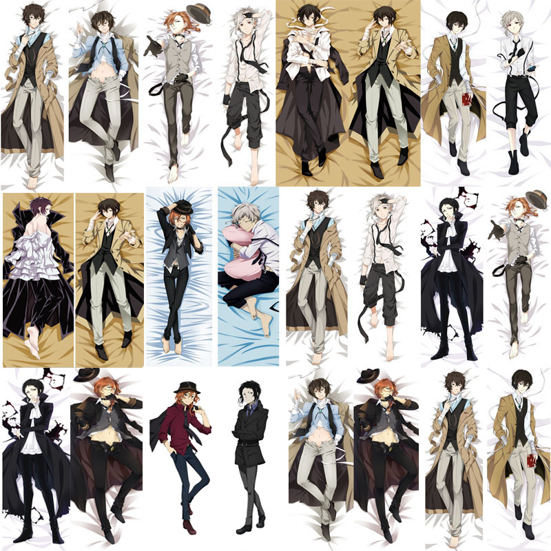 Mxdfafa Japan Anime Bungou Stray Dogs Dakimakura Hugging Body Pillow Cover Atsushi Bungo Osamu Dazai Otaku Decorative Pillowcase