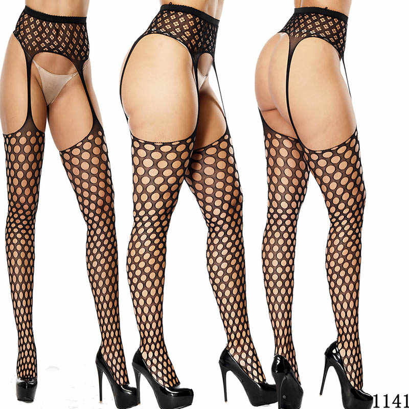 Kadın seksi iç çamaşırı çorap jartiyer kemer Fishnet tayt şeffaf külotlu uyluk yüksek ucuz nakış çorap