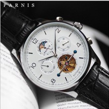 Parnis 43mm White Dial Automatic Men's Watches Moon Phase Calendar Men Wristwatch JHS35 Movement Mechanical Man Clock box gift