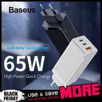 Baseus 65W GaN Fast Charger with Quick Charge 4.0 3.0 AFC SCP USB PD Charger For iPhone 11 Pro Macbook Pro Xiaomi Samsung Huawei