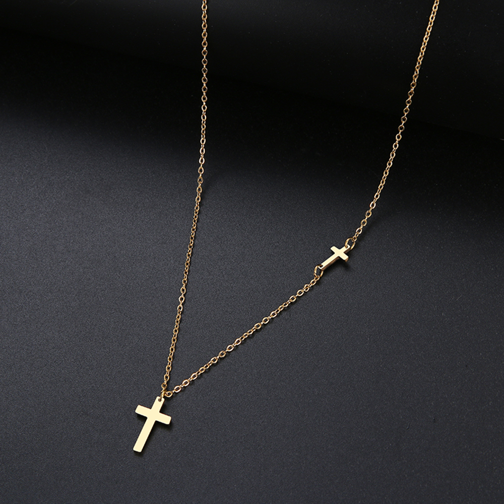 DOTIFI For Women Hot Sale Shiny Cross 8 Character Pendant Necklace Stainless Steel Gold and Silver Color Jewelry Gift