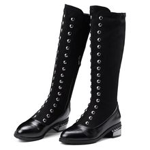 Retro Rivets Knee-High Black Long Boots Women Cool Metal Decoration Socks Boots Fashion Thick Puppy Heel High Boots botas mujer(China)