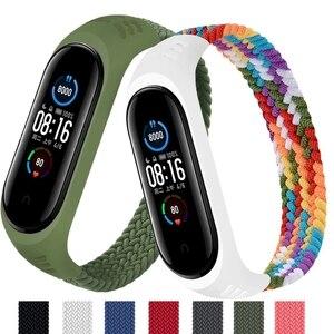 Image 1 - Nylon Braided Strap for Mi band 6 5 4 3 Wristband Sports Breathable Bracelet for Miband 6 5 4 3  Miband6 Miband5 Strap correa