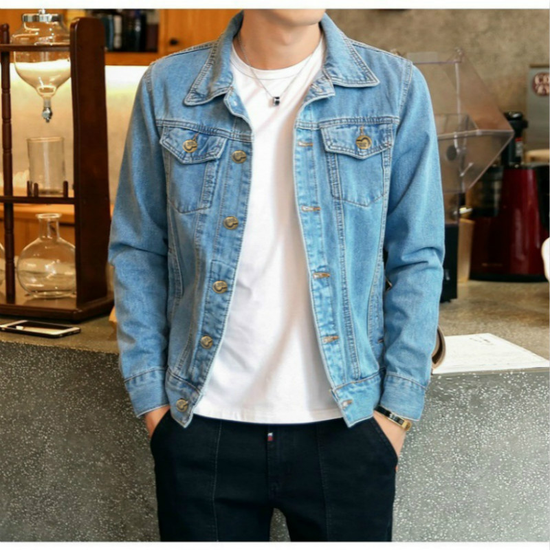 Autumn Denim Jacket Men Solid Cowboy Spring Casual Slim Bomber Jacket Male Jean Mens Coats And Jackets Outwear Plus Size 5XL