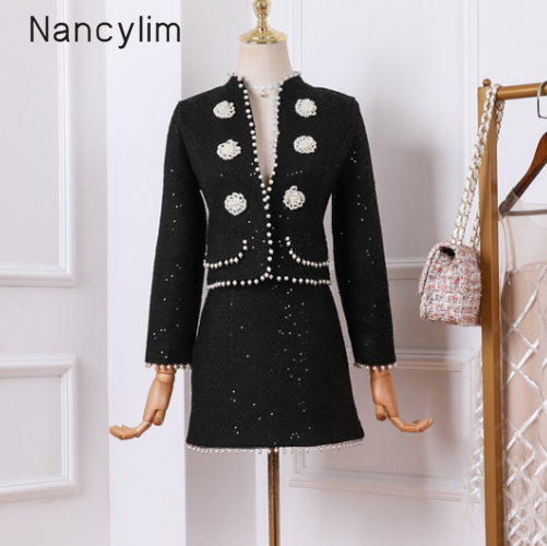 2019 Autumn Tweed Sets New Women's Woolen Tweed Black Pearl Buttons Small Jacket + Mini Skirt Two-piece Suit Conjuntos De Mujer