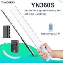 Yongnuo YN360S Ultra sottile, ultra luce Portatile Bastone di Ghiaccio HA CONDOTTO LA Luce Video 5500k Controllato da Telefono App Fotocamera Luce di Riempimento Bastone