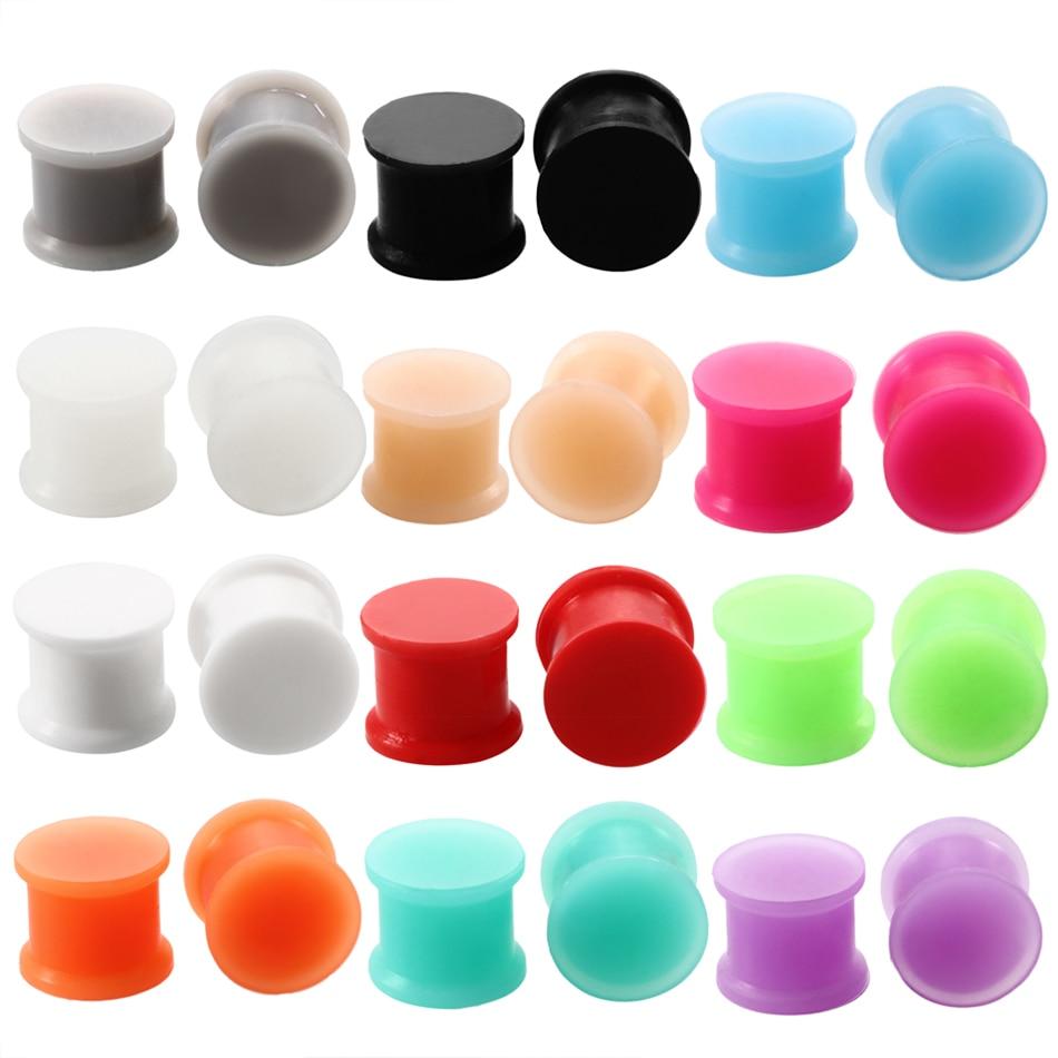 3-25 мм 1 пара силиконовых затычек для ушей и туннелей, двойные расклешенные расширители для ушей, носилки для ушей, пирсинг, ювелирные изделия...