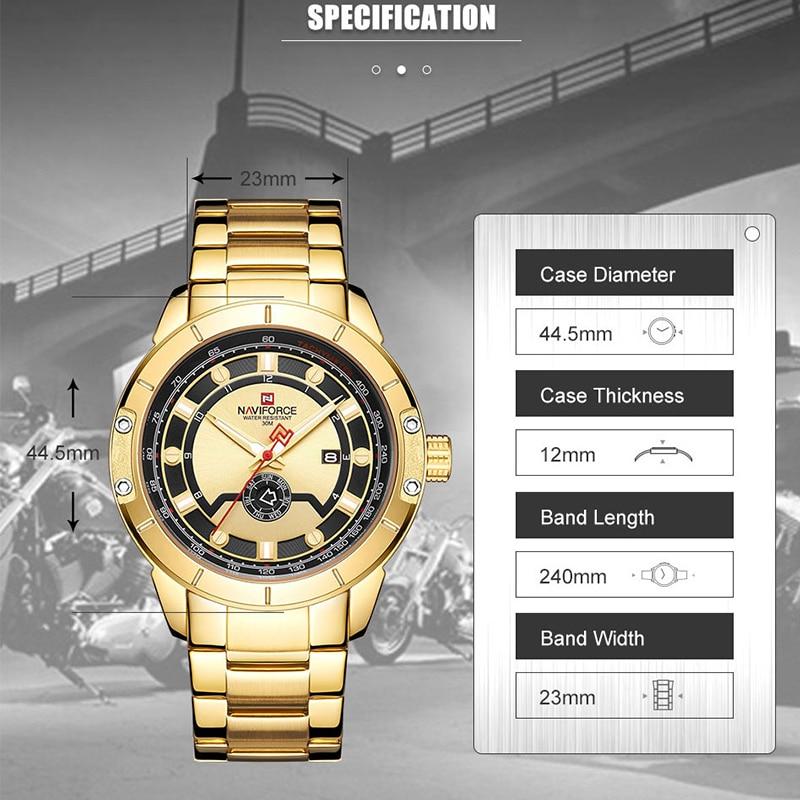 Image 2 - Luxury Brand NAVIFORCE Men Steel Strap Gold Watch Mens Quartz Clock Date Sport Waterproof Wrist Watches Relogio Masculino 2019-in Quartz Watches from Watches