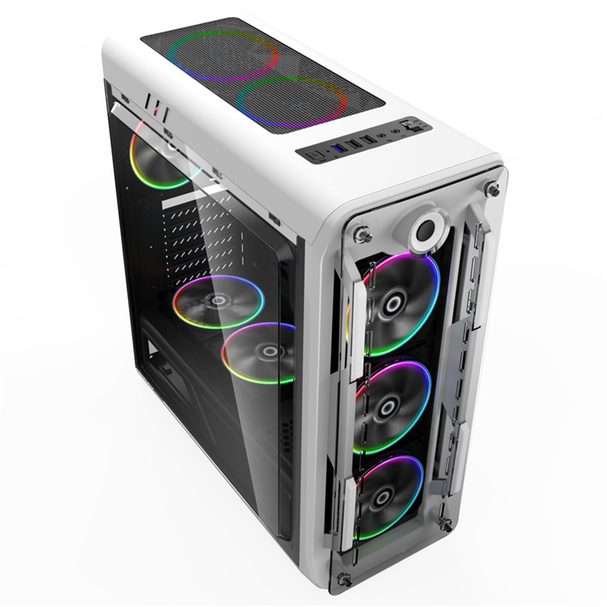 2020 New Computer Case Support ATX/Micro ATX Motherboard USB3.0 PC Case Fast Heat Dissipation Can Turn 8 Fans Upgraded Version
