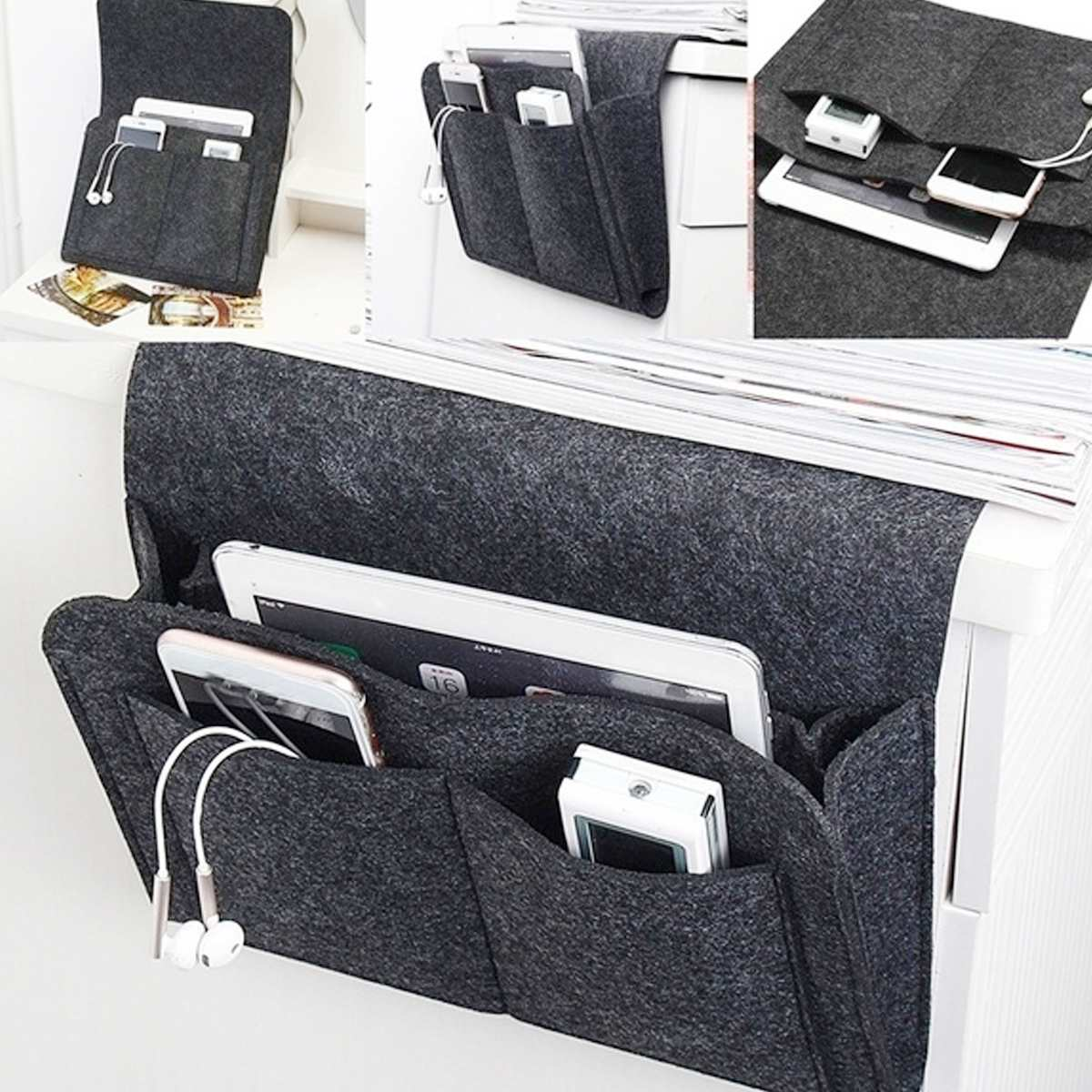 Felt Bedside Storage Organizer Bed Desk Bag <font><b>Sofa</b></font> TV <font><b>Remote</b></font> Control Hanging <font><b>Pocket</b></font> Organizer <font><b>for</b></font> Bedroom College Dorm Room image
