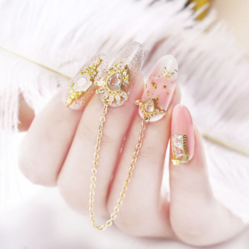 Silver Gold Color 3D Nail Art Decoration With Rhinestone Pearl Pendant Mixes Butterfly Heart Bow Tie Color Rhinestone