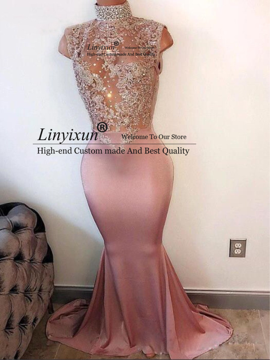 2020 Elegant Mermaid Prom Party Dresses High Neck Pearls Sleeveless Lace-Appliques Prom Dress Crystal Beaded Evening Gowns