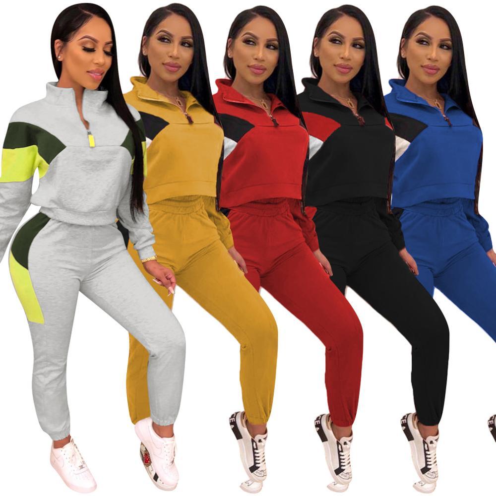 Two Piece Set Tracksuits 2019 Autumn Winter Women Zipper Color Block Short Sweatshirt And Pencil Pant Sets Sportwears Sweatsuits