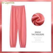 Cotton Pajama Pants Long Women's Lounge Pants Ankle-tied Minimalist Style Elasti