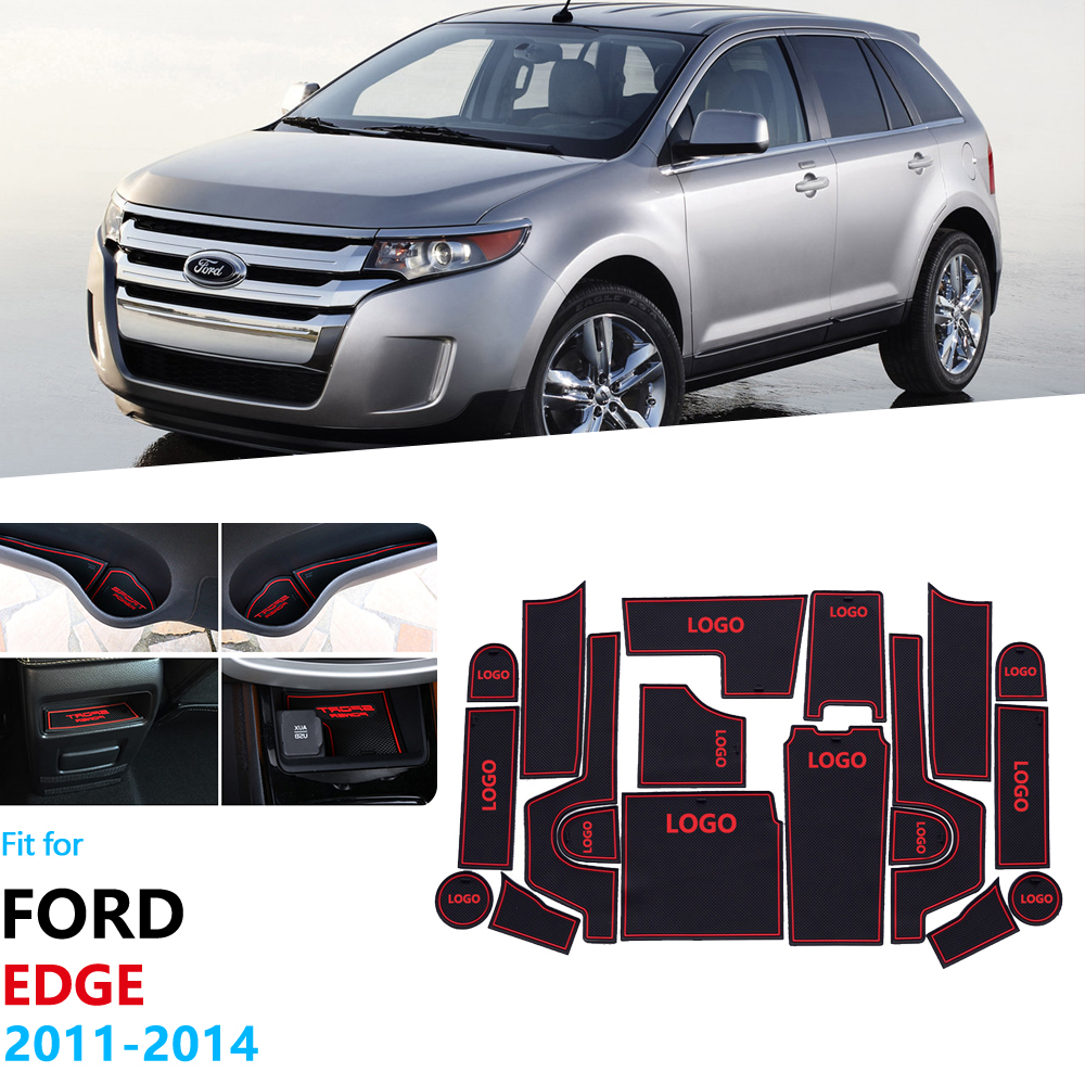 Anti-Slip Rubber Gate Slot Cup Mat For Ford EDGE 2011 2012 2013 2014 Facelift Coaster Interior Trim Door Groove Mat Car Stickers