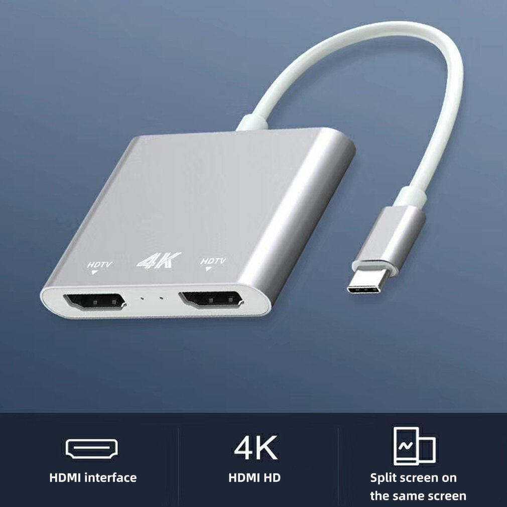Adapter USB C To HDMI Dual 4K @60hz Practical Converter High Speed Durable Portable Dual Monitor Adapters
