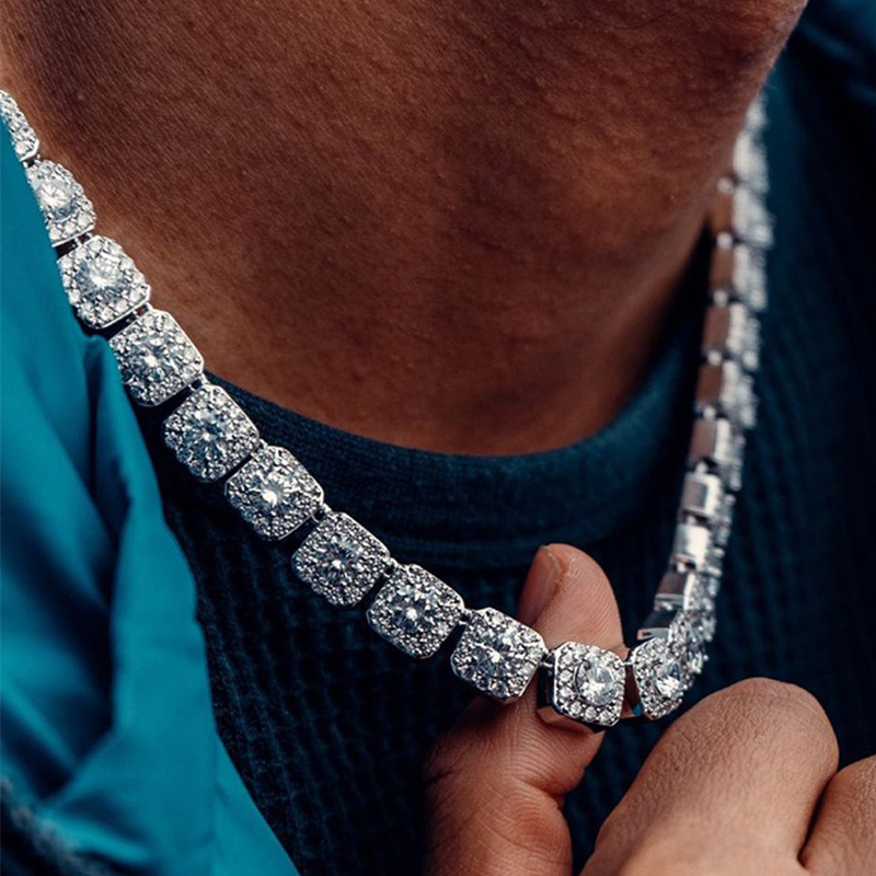 D & Z 10MM glacé sur collier mode bijoux qualité broche ensemble grande taille Solitaire Tennis chaîne hommes Bling CZ charme Hip Hop