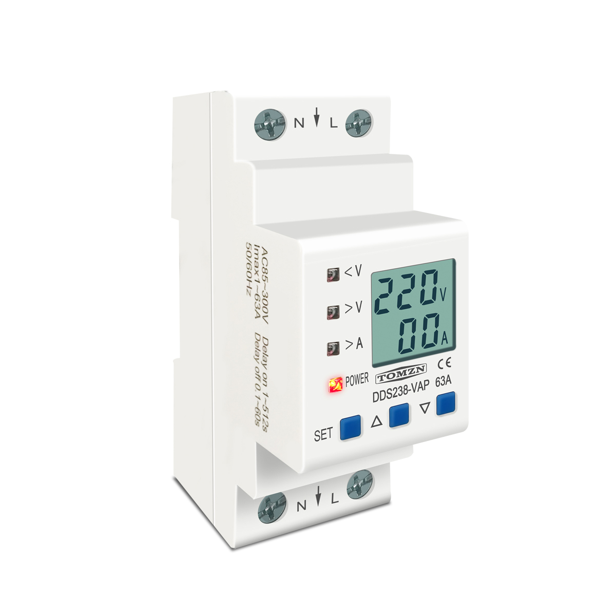 Image 2 - 63A 80A 110V 230V Din rail adjustable over under voltage protective device protector current limit protection Voltmeter KwhCircuit Breakers   -