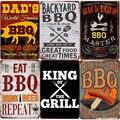 Винтажная табличка для барбекю на заднем дворе, металлическая Жестяная Табличка для гриля и гриля, декор для бара, папы, сада, настенная таре...